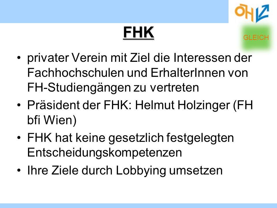 FHK privater Verein mit Ziel die Interessen der Fachhochschulen und ErhalterInnen von FH-Studiengängen zu vertreten Präsident der FHK: Helmut Holzinge