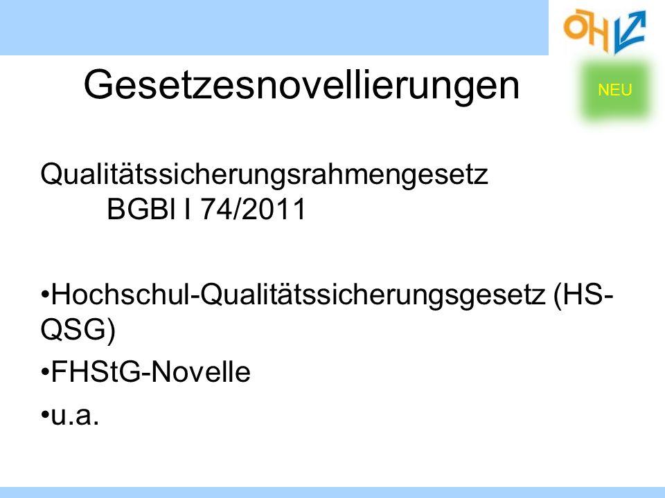Qualitätssicherungsrahmengesetz BGBl I 74/2011 Hochschul-Qualitätssicherungsgesetz (HS- QSG) FHStG-Novelle u.a. Gesetzesnovellierungen NEU