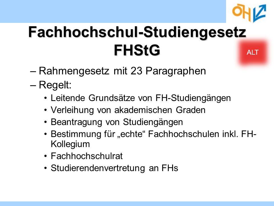 Fachhochschul-Studiengesetz FHStG –Rahmengesetz mit 23 Paragraphen –Regelt: Leitende Grundsätze von FH-Studiengängen Verleihung von akademischen Grade