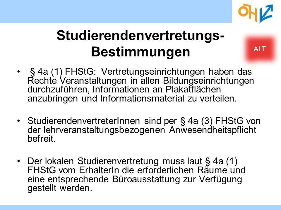 Studierendenvertretungs- Bestimmungen § 4a (1) FHStG: Vertretungseinrichtungen haben das Rechte Veranstaltungen in allen Bildungseinrichtungen durchzu