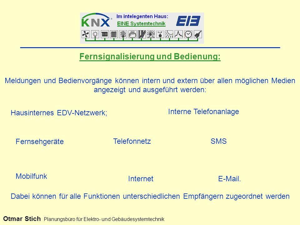 Meldungen und Bedienvorgänge können intern und extern über allen möglichen Medien angezeigt und ausgeführt werden: Interne Telefonanlage Hausinternes EDV-Netzwerk; Fernsehgeräte Telefonnetz Fernsignalisierung und Bedienung: SMS Mobilfunk InternetE-Mail.