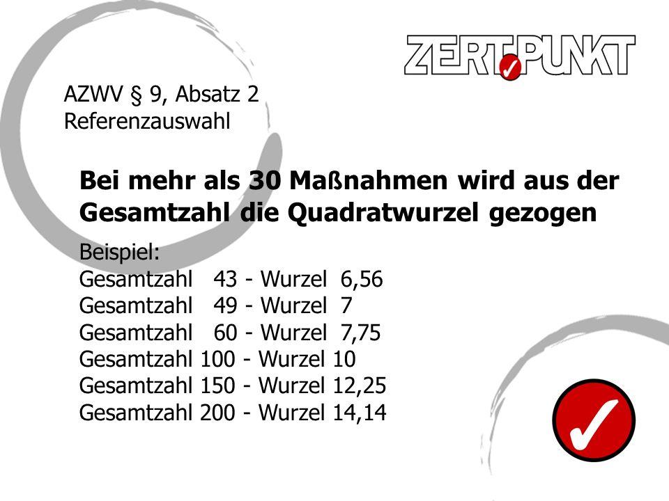 Bei mehr als 30 Ma ß nahmen wird aus der Gesamtzahl die Quadratwurzel gezogen Beispiel: Gesamtzahl 43 - Wurzel 6,56 Gesamtzahl 49 - Wurzel 7 Gesamtzah