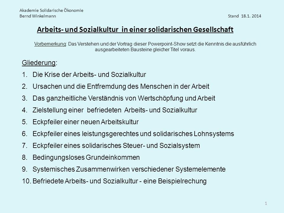 Arbeits- und Sozialkultur in einer solidarischen Gesellschaft Akademie Solidarische Ökonomie Bernd Winkelmann Stand 18.1. 2014 Gliederung: 1.Die Krise
