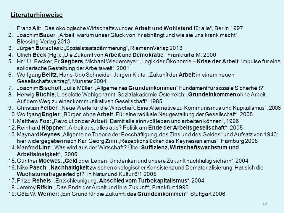 13 Literaturhinweise 1.Franz Alt: Das ökologische Wirtschaftswunder. Arbeit und Wohlstand für alle, Berlin 1997 2.Joachim Bauer, Arbeit, warum unser G
