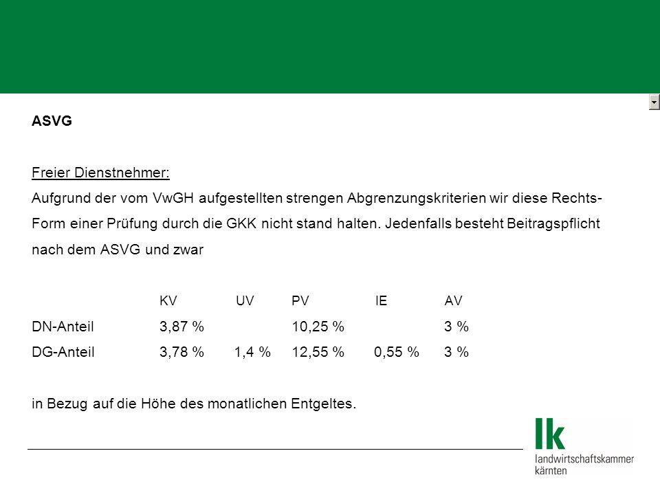 ASVG Freier Dienstnehmer: Aufgrund der vom VwGH aufgestellten strengen Abgrenzungskriterien wir diese Rechts- Form einer Prüfung durch die GKK nicht stand halten.
