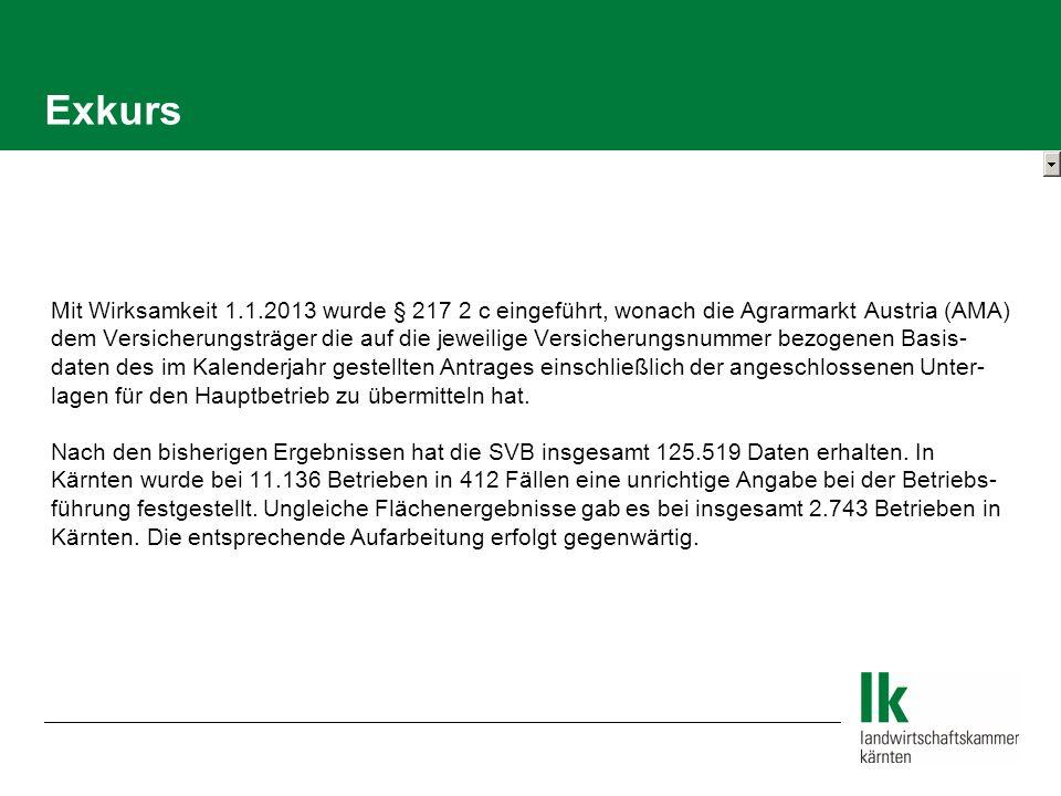 Exkurs Mit Wirksamkeit 1.1.2013 wurde § 217 2 c eingeführt, wonach die Agrarmarkt Austria (AMA) dem Versicherungsträger die auf die jeweilige Versicherungsnummer bezogenen Basis- daten des im Kalenderjahr gestellten Antrages einschließlich der angeschlossenen Unter- lagen für den Hauptbetrieb zu übermitteln hat.