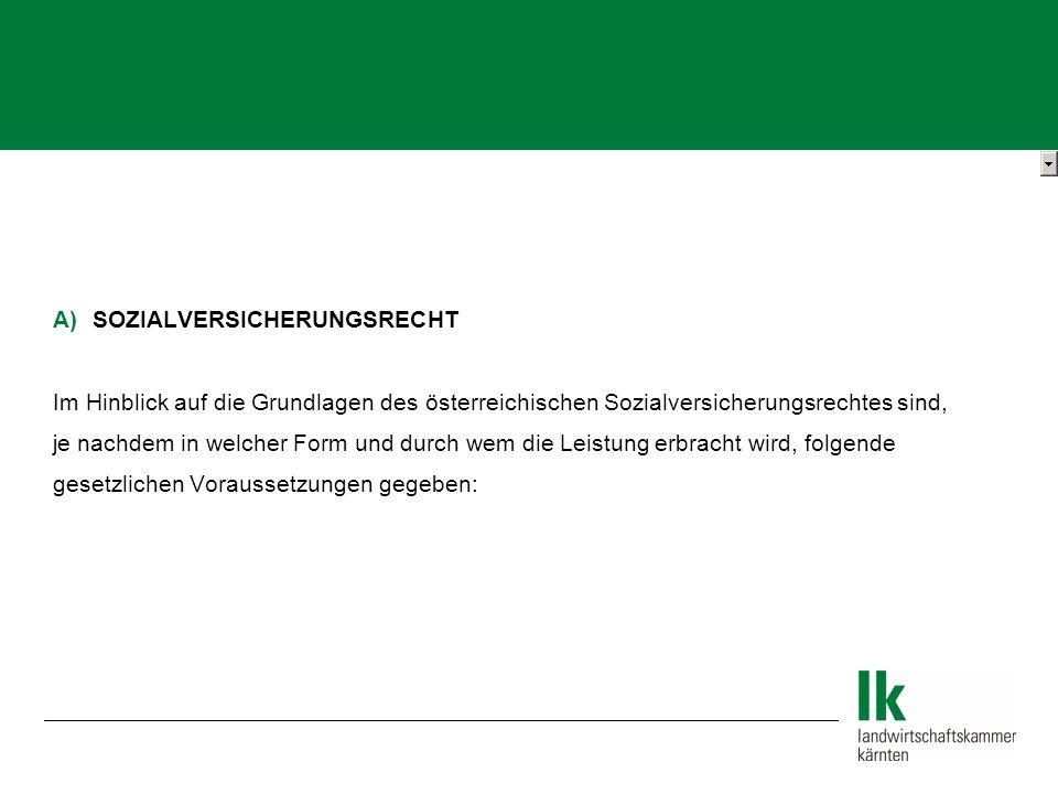 A)SOZIALVERSICHERUNGSRECHT Im Hinblick auf die Grundlagen des österreichischen Sozialversicherungsrechtes sind, je nachdem in welcher Form und durch wem die Leistung erbracht wird, folgende gesetzlichen Voraussetzungen gegeben: