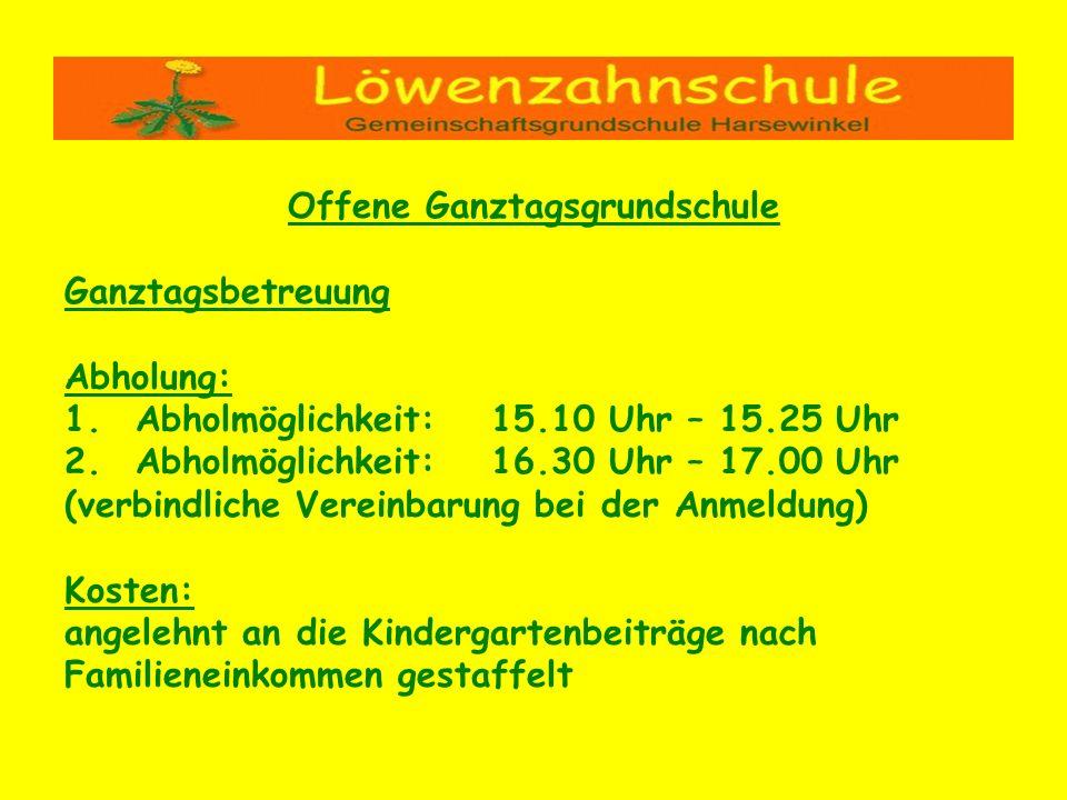 Offene Ganztagsgrundschule Ganztagsbetreuung Abholung: 1.Abholmöglichkeit:15.10 Uhr – 15.25 Uhr 2.Abholmöglichkeit:16.30 Uhr – 17.00 Uhr (verbindliche