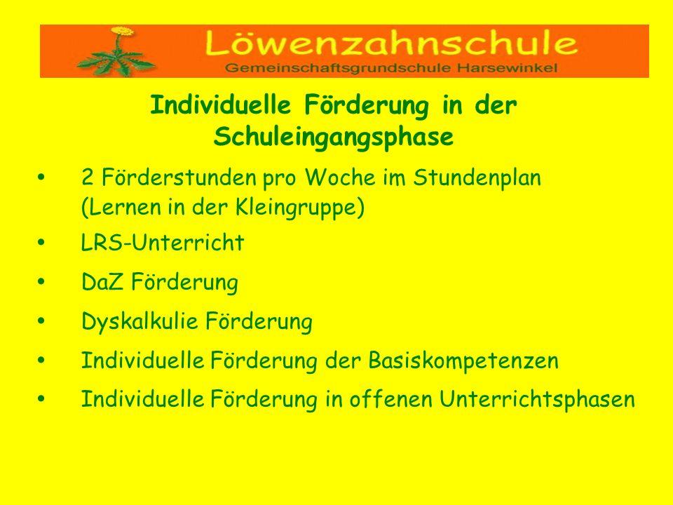 2 Förderstunden pro Woche im Stundenplan (Lernen in der Kleingruppe) LRS-Unterricht DaZ Förderung Dyskalkulie Förderung Individuelle Förderung der Bas