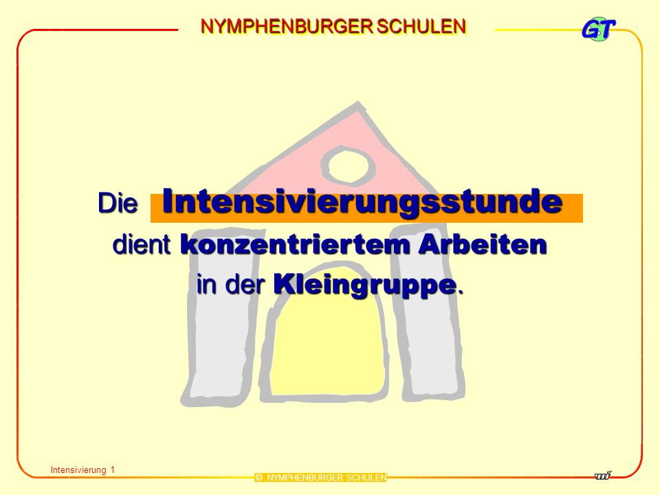 NYMPHENBURGER SCHULEN © NYMPHENBURGER SCHULEN Intensivierung 1 Die Intensivierungsstunde dient konzentriertem Arbeiten in der Kleingruppe.
