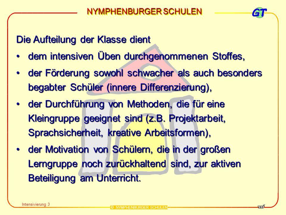 NYMPHENBURGER SCHULEN © NYMPHENBURGER SCHULEN Intensivierung 3 Die Aufteilung der Klasse dient dem intensiven Üben durchgenommenen Stoffes,dem intensi