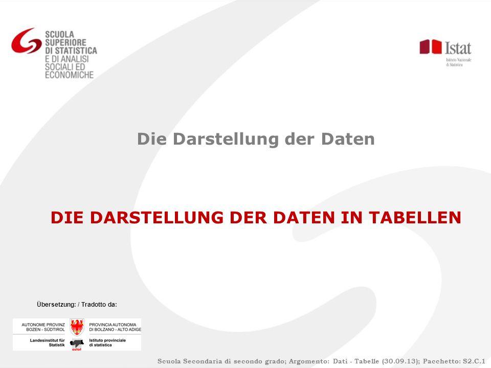 Scuola Secondaria di secondo grado; Argomento: Dati - Tabelle (30.09.13); Pacchetto: S2.C.1 Die Darstellung der Daten DIE DARSTELLUNG DER DATEN IN TABELLEN Übersetzung: / Tradotto da: