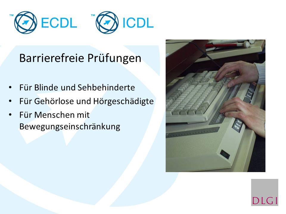 Barrierefreie Prüfungen Für Blinde und Sehbehinderte Für Gehörlose und Hörgeschädigte Für Menschen mit Bewegungseinschränkung