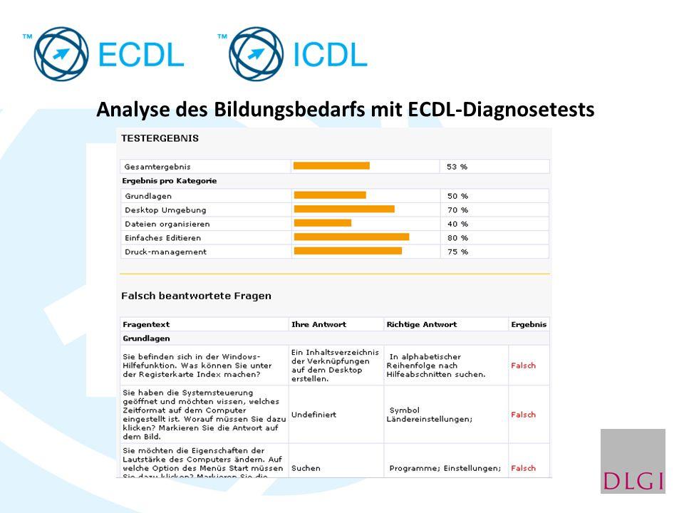 Analyse des Bildungsbedarfs mit ECDL-Diagnosetests