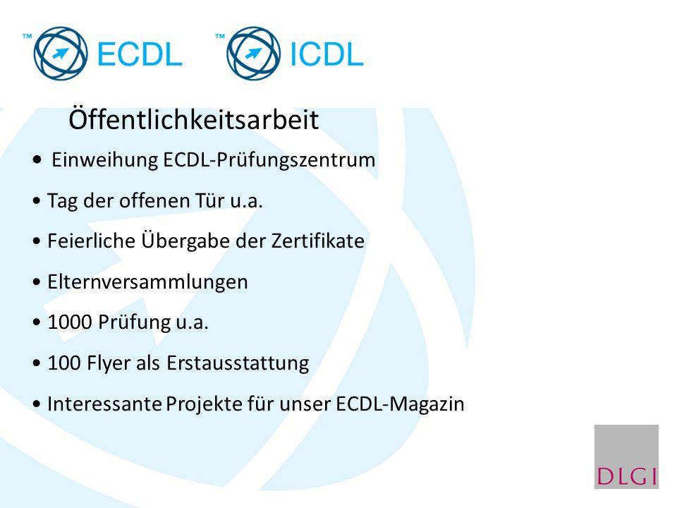 Öffentlichkeitsarbeit Einweihung ECDL-Prüfungszentrum Tag der offenen Tür u.a. Feierliche Übergabe der Zertifikate Elternversammlungen 1000 Prüfung u.