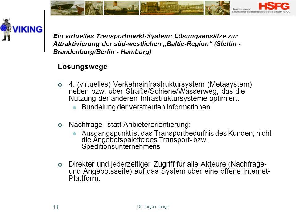 Dr. Jürgen Lange 11 Ein virtuelles Transportmarkt-System; Lösungsansätze zur Attraktivierung der süd-westlichen Baltic-Region (Stettin - Brandenburg/B