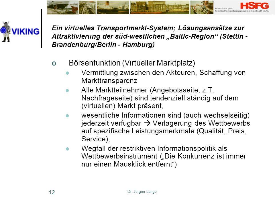 Dr. Jürgen Lange 12 Ein virtuelles Transportmarkt-System; Lösungsansätze zur Attraktivierung der süd-westlichen Baltic-Region (Stettin - Brandenburg/B