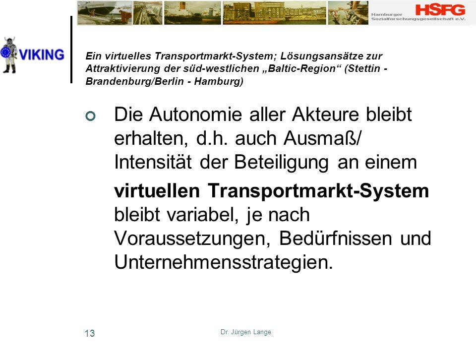 Dr. Jürgen Lange 13 Ein virtuelles Transportmarkt-System; Lösungsansätze zur Attraktivierung der süd-westlichen Baltic-Region (Stettin - Brandenburg/B