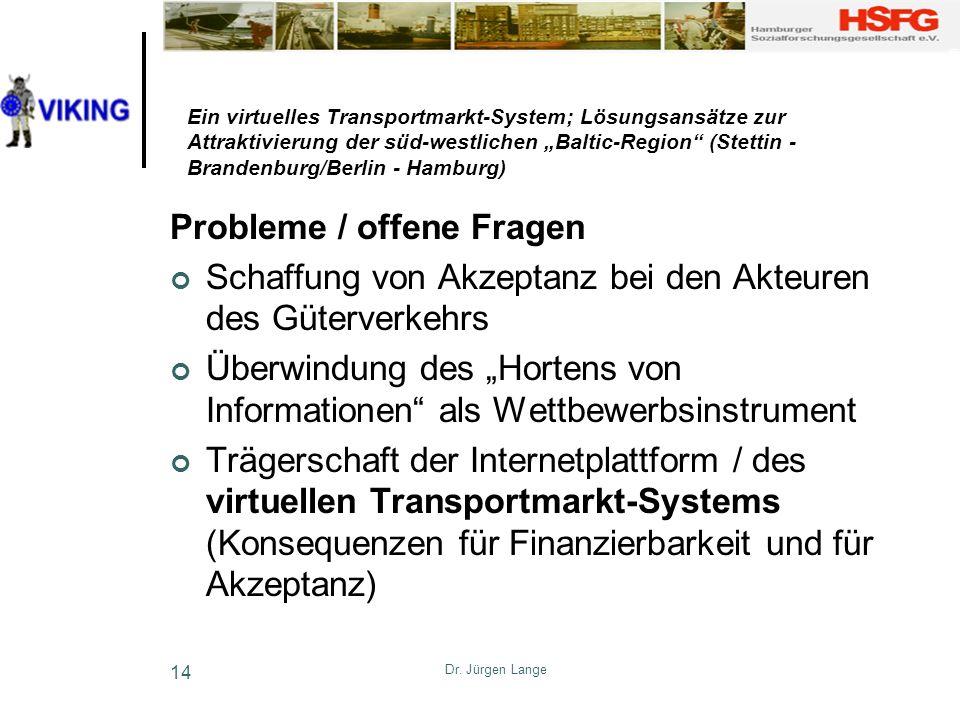 Dr. Jürgen Lange 14 Ein virtuelles Transportmarkt-System; Lösungsansätze zur Attraktivierung der süd-westlichen Baltic-Region (Stettin - Brandenburg/B