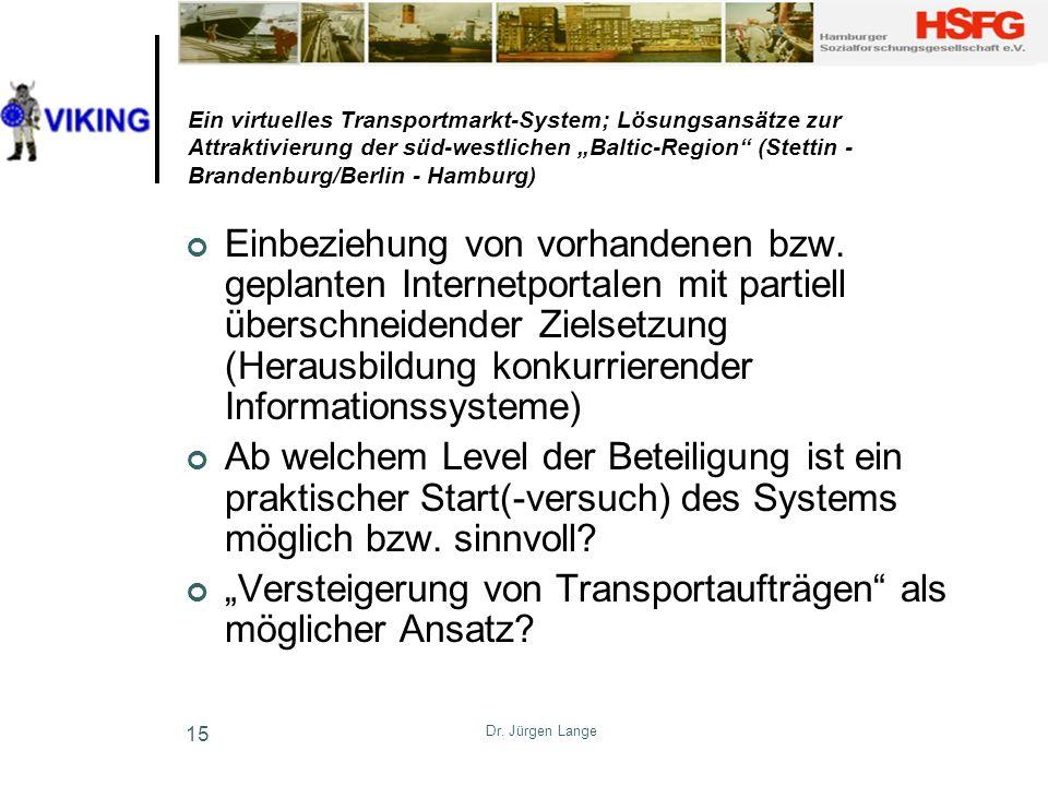 Dr. Jürgen Lange 15 Ein virtuelles Transportmarkt-System; Lösungsansätze zur Attraktivierung der süd-westlichen Baltic-Region (Stettin - Brandenburg/B
