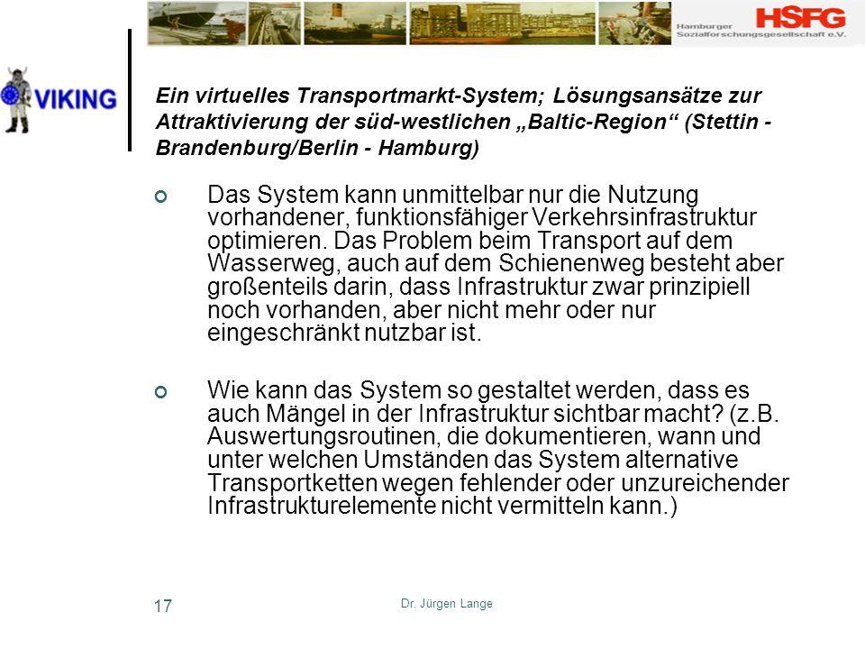 Dr. Jürgen Lange 17 Ein virtuelles Transportmarkt-System; Lösungsansätze zur Attraktivierung der süd-westlichen Baltic-Region (Stettin - Brandenburg/B