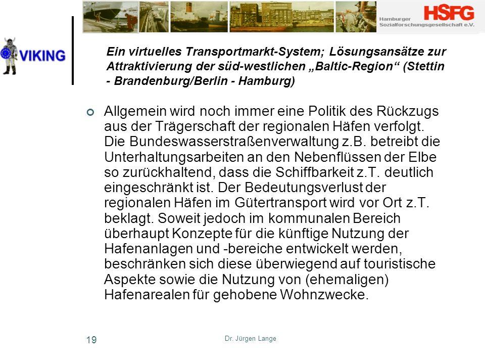 Dr. Jürgen Lange 19 Ein virtuelles Transportmarkt-System; Lösungsansätze zur Attraktivierung der süd-westlichen Baltic-Region (Stettin - Brandenburg/B