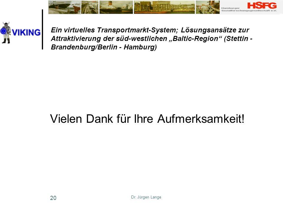 Dr. Jürgen Lange 20 Ein virtuelles Transportmarkt-System; Lösungsansätze zur Attraktivierung der süd-westlichen Baltic-Region (Stettin - Brandenburg/B