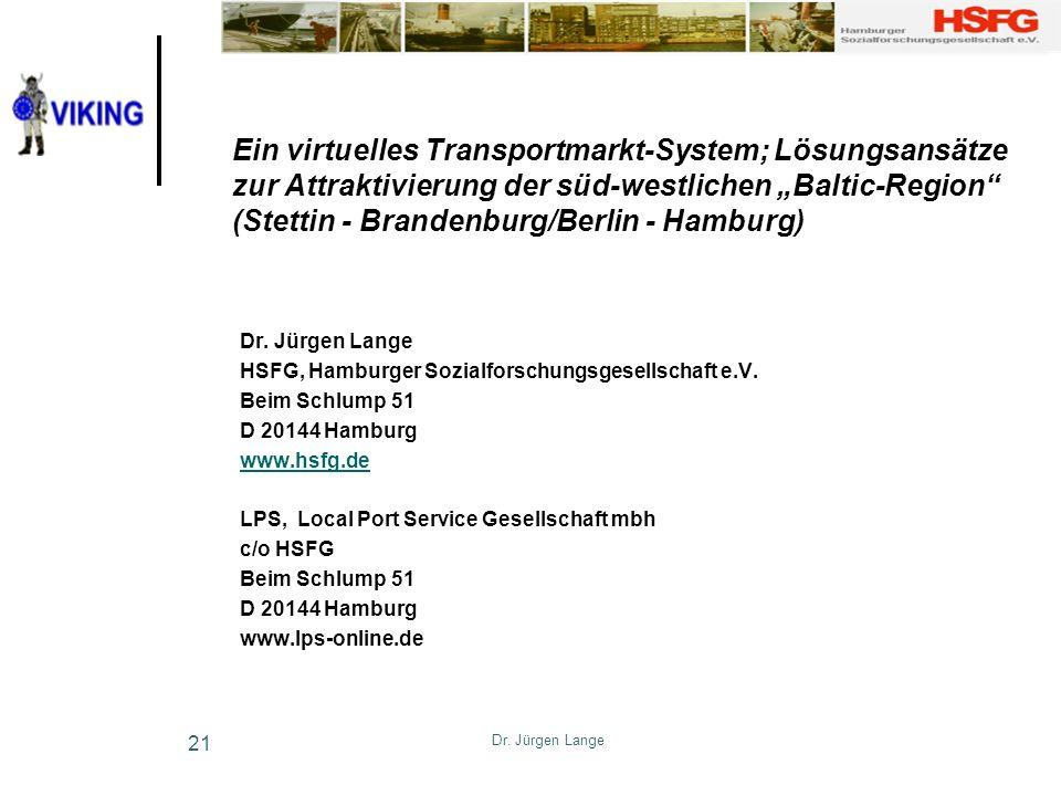 Dr. Jürgen Lange 21 Ein virtuelles Transportmarkt-System; Lösungsansätze zur Attraktivierung der süd-westlichen Baltic-Region (Stettin - Brandenburg/B
