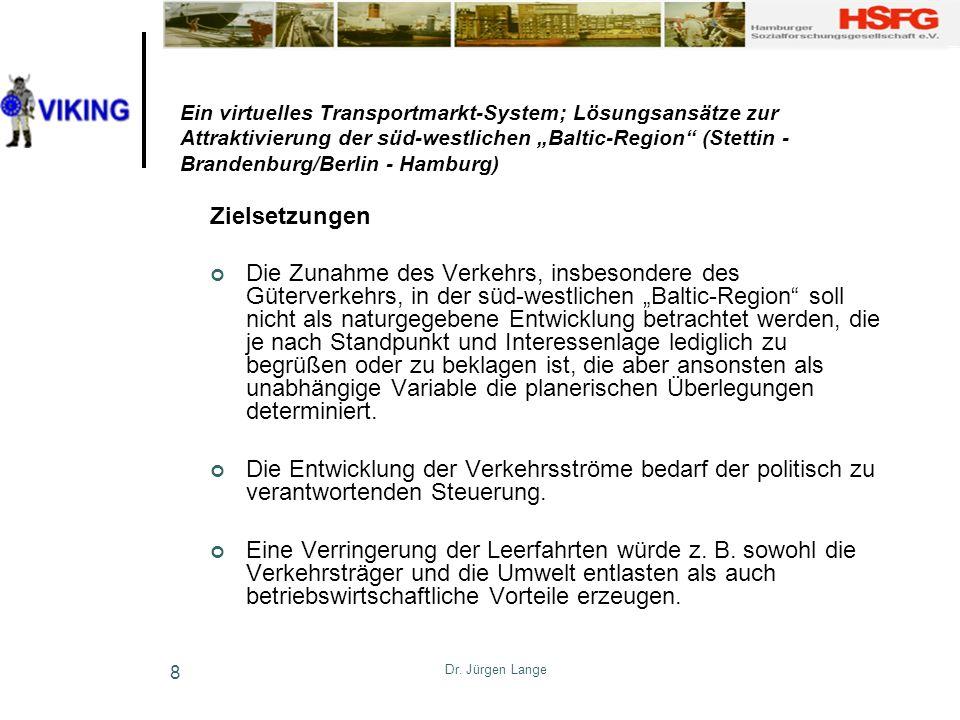 Dr. Jürgen Lange 8 Ein virtuelles Transportmarkt-System; Lösungsansätze zur Attraktivierung der süd-westlichen Baltic-Region (Stettin - Brandenburg/Be