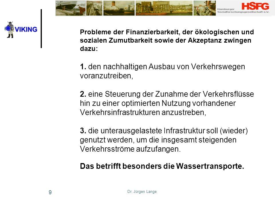 Dr. Jürgen Lange 9 Probleme der Finanzierbarkeit, der ökologischen und sozialen Zumutbarkeit sowie der Akzeptanz zwingen dazu: 1. den nachhaltigen Aus