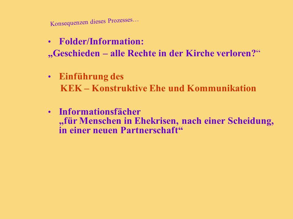 Konsequenzen dieses Prozesses… Folder/Information: Geschieden – alle Rechte in der Kirche verloren? Einführung des KEK – Konstruktive Ehe und Kommunik