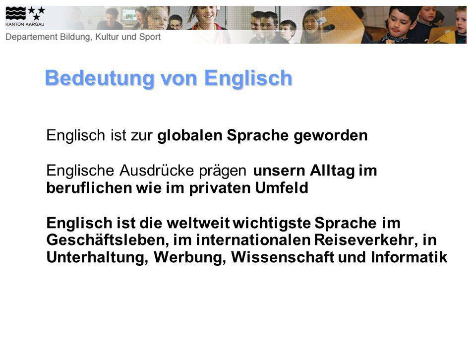 Bedeutung von Englisch Englisch ist zur globalen Sprache geworden Englische Ausdrücke prägen unsern Alltag im beruflichen wie im privaten Umfeld Engli