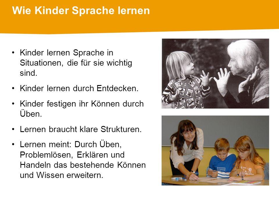 Wie Kinder Sprache lernen Kinder lernen Sprache in Situationen, die für sie wichtig sind.