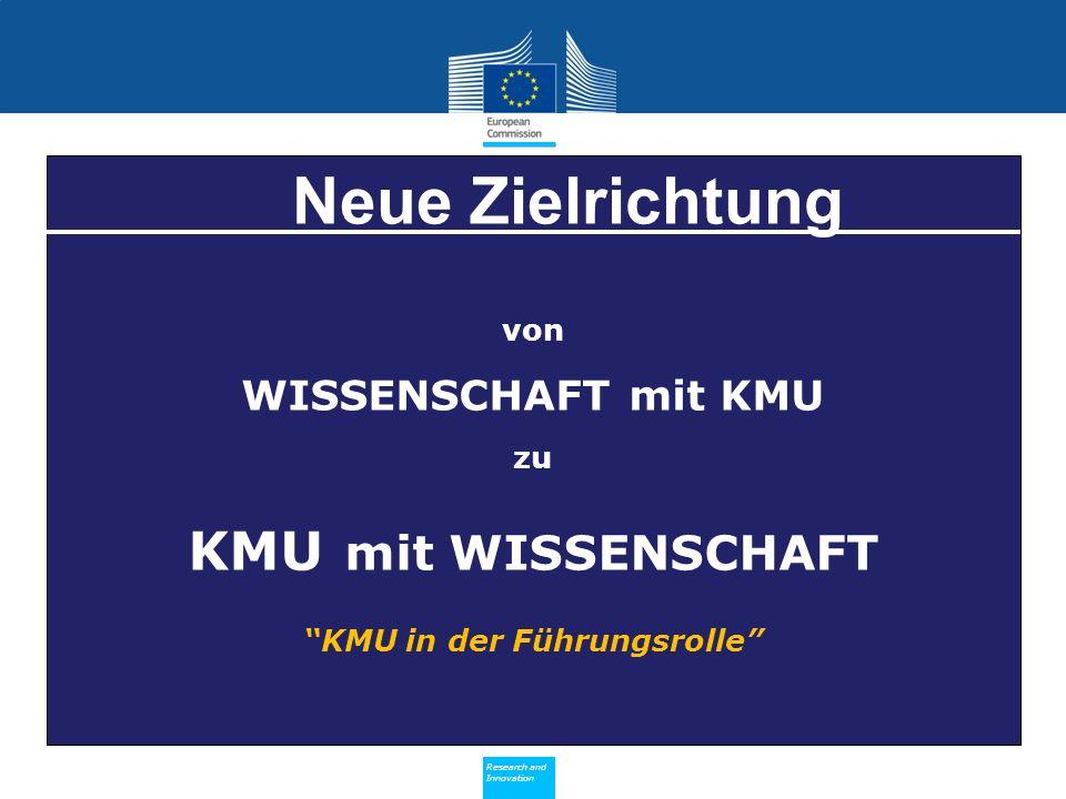 Policy Research and Innovation Research and Innovation von WISSENSCHAFT mit KMU zu KMU mit WISSENSCHAFT KMU in der Führungsrolle Neue Zielrichtung