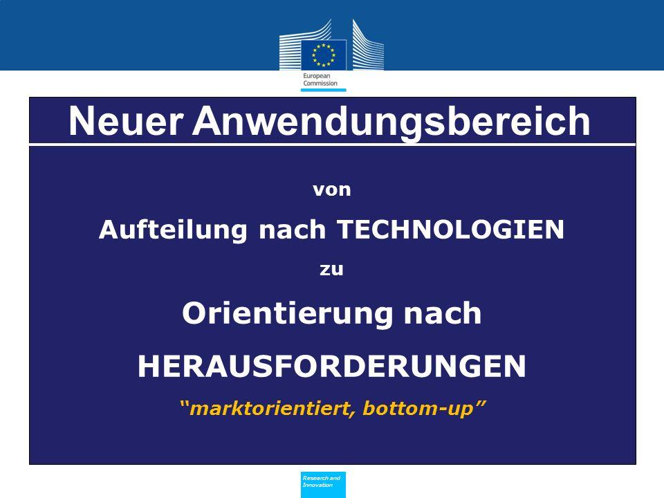 Policy Research and Innovation Research and Innovation von Aufteilung nach TECHNOLOGIEN zu Orientierung nach HERAUSFORDERUNGEN marktorientiert, bottom-up Neuer Anwendungsbereich