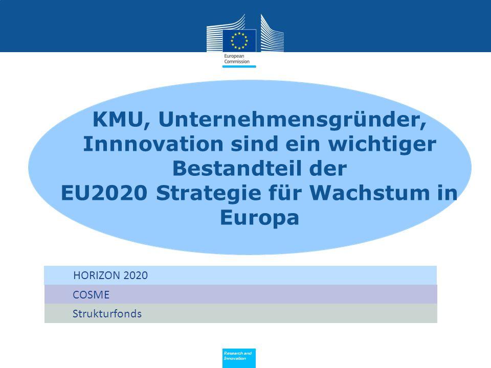 Policy Research and Innovation Research and Innovation KMU, Unternehmensgründer, Innnovation sind ein wichtiger Bestandteil der EU2020 Strategie für Wachstum in Europa COSME Strukturfonds HORIZON 2020