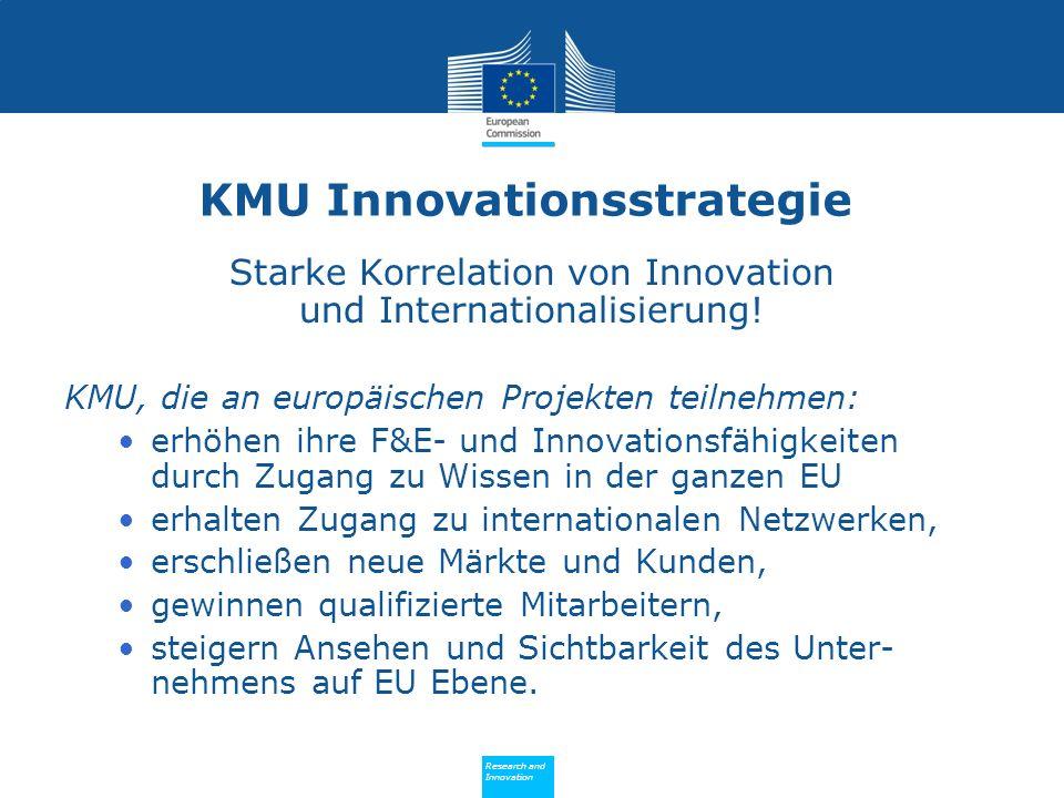 Policy Research and Innovation Research and Innovation KMU Innovationsstrategie Starke Korrelation von Innovation und Internationalisierung.