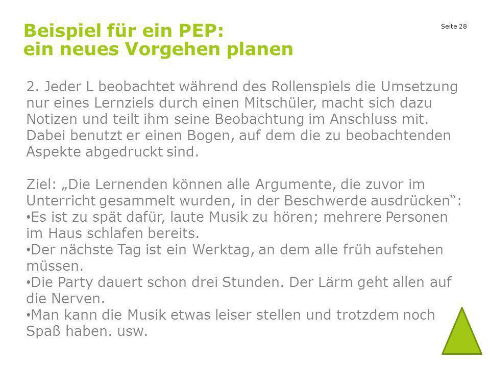 Seite 28 Beispiel für ein PEP: ein neues Vorgehen planen 2. Jeder L beobachtet während des Rollenspiels die Umsetzung nur eines Lernziels durch einen