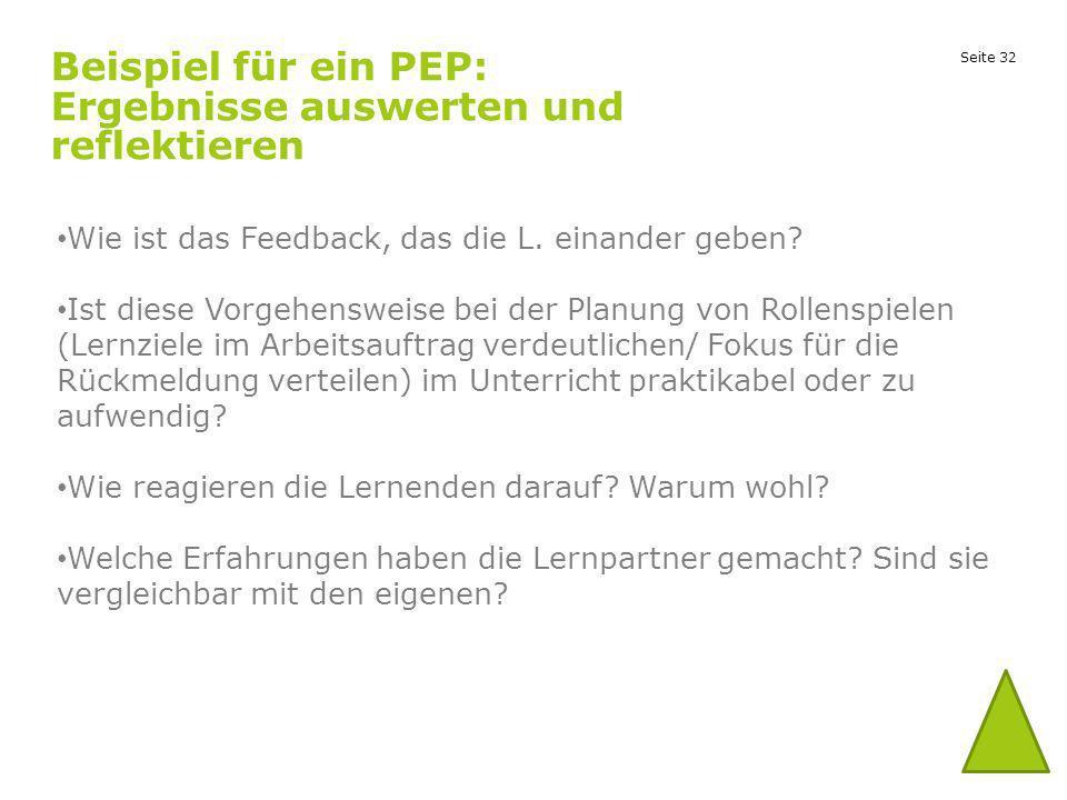 Seite 32 Beispiel für ein PEP: Ergebnisse auswerten und reflektieren Wie ist das Feedback, das die L. einander geben? Ist diese Vorgehensweise bei der