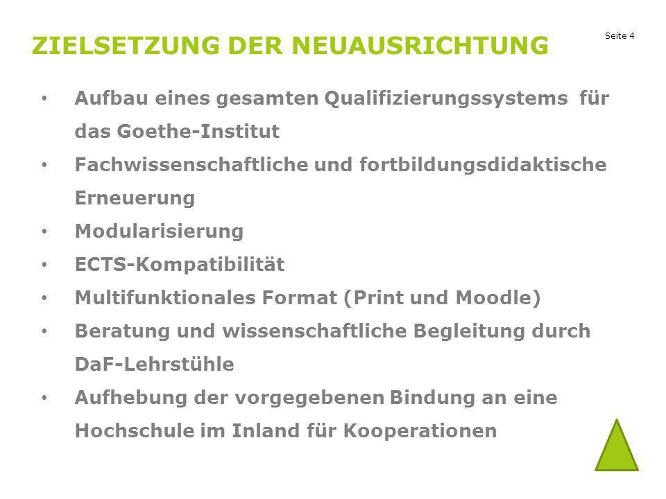 Seite 4 ZIELSETZUNG DER NEUAUSRICHTUNG Aufbau eines gesamten Qualifizierungssystems für das Goethe-Institut Fachwissenschaftliche und fortbildungsdida