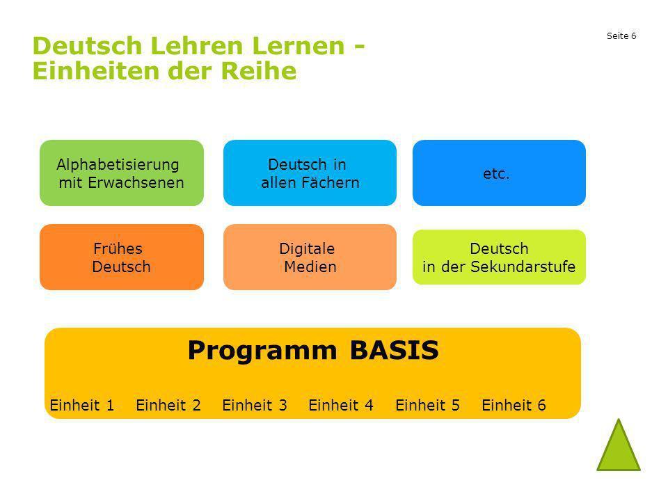 Seite 6 Deutsch Lehren Lernen - Einheiten der Reihe Frühes Deutsch Digitale Medien Deutsch in der Sekundarstufe Programm BASIS Einheit 1 Einheit 2 Ein