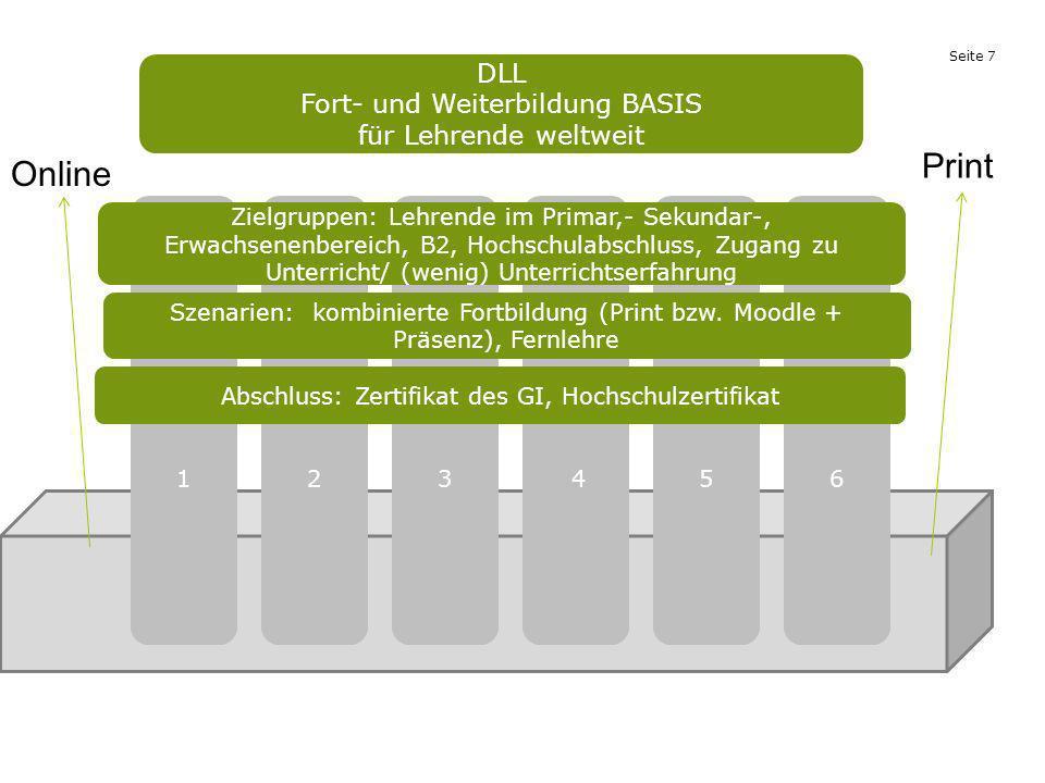 Seite 7 1 DLL Fort- und Weiterbildung BASIS für Lehrende weltweit 2 3 4 6 5 Zielgruppen: Lehrende im Primar,- Sekundar-, Erwachsenenbereich, B2, Hochs