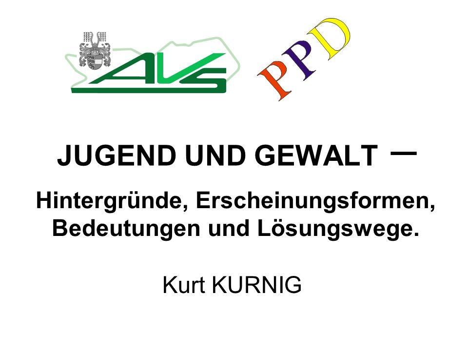 JUGEND UND GEWALT – Kurt KURNIG Hintergründe, Erscheinungsformen, Bedeutungen und Lösungswege.