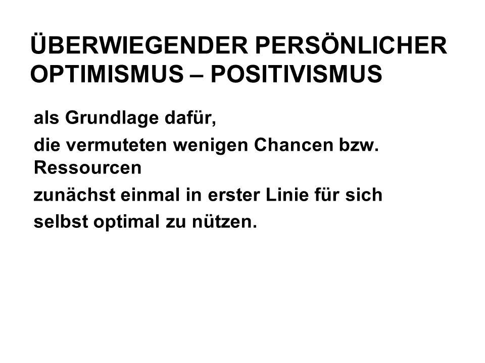 ÜBERWIEGENDER PERSÖNLICHER OPTIMISMUS – POSITIVISMUS als Grundlage dafür, die vermuteten wenigen Chancen bzw.