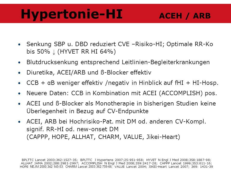 Senkung SBP u. DBD reduziert CVE –Risiko-HI; Optimale RR-Ko bis 50% (HYVET RR HI 64%) Blutdrucksenkung entsprechend Leitlinien-Begleiterkrankungen Diu