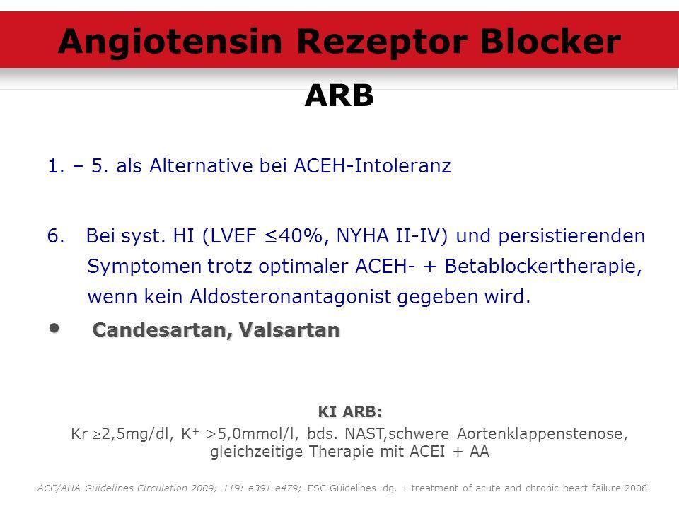 1. – 5. als Alternative bei ACEH-Intoleranz 6. Bei syst. HI (LVEF 40%, NYHA II-IV) und persistierenden Symptomen trotz optimaler ACEH- + Betablockerth
