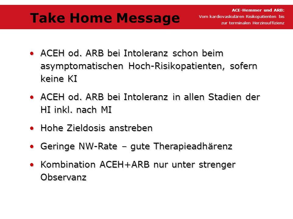 ACEH od. ARB bei Intoleranz schon beim asymptomatischen Hoch-Risikopatienten, sofern keine KIACEH od. ARB bei Intoleranz schon beim asymptomatischen H
