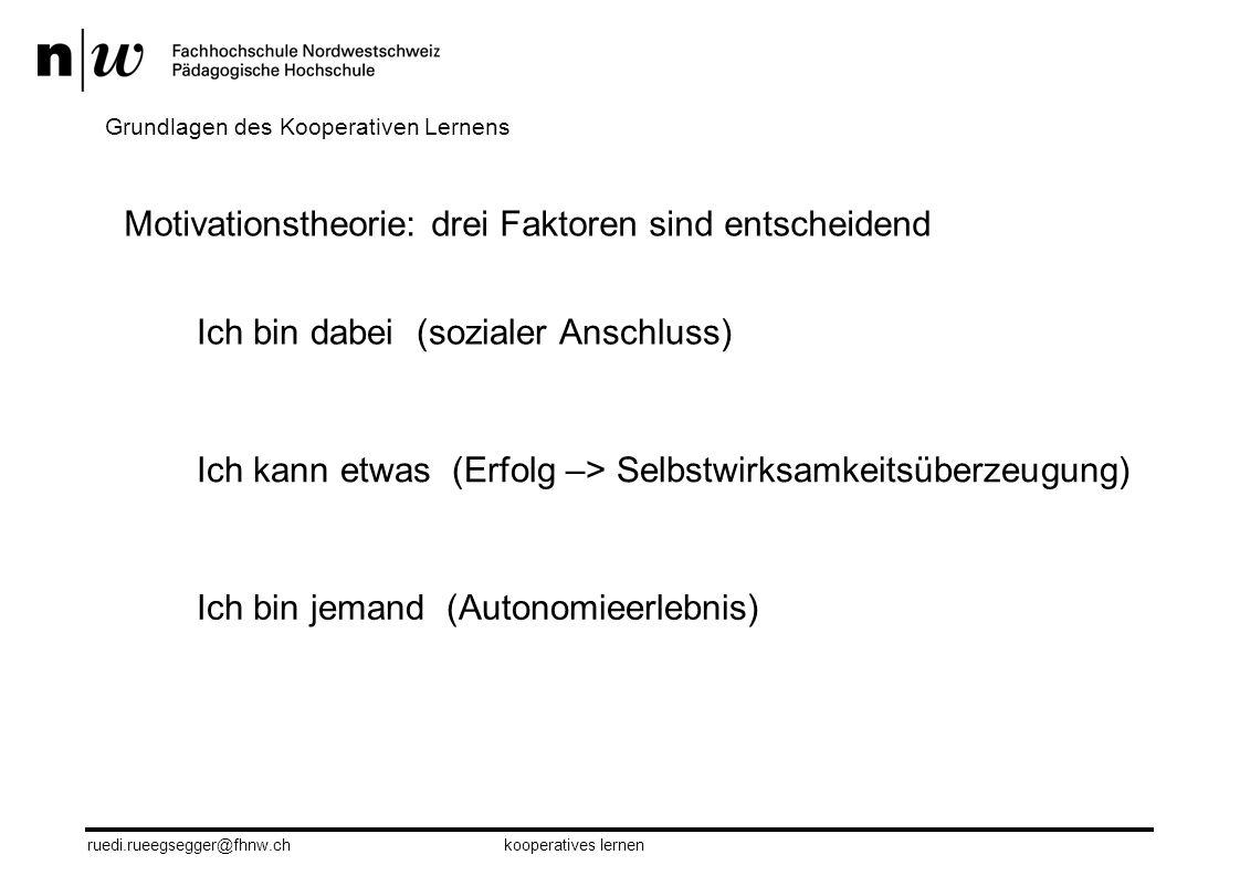 ruedi.rueegsegger@fhnw.chkooperatives lernen 7 Das Prinzip des Dreischritts Einzelarbeit Austausch Präsentation Grundregeln des Kooperatives Lernens