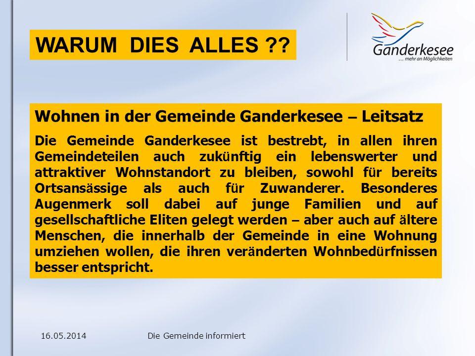 16.05.2014Die Gemeinde informiert WARUM DIES ALLES .