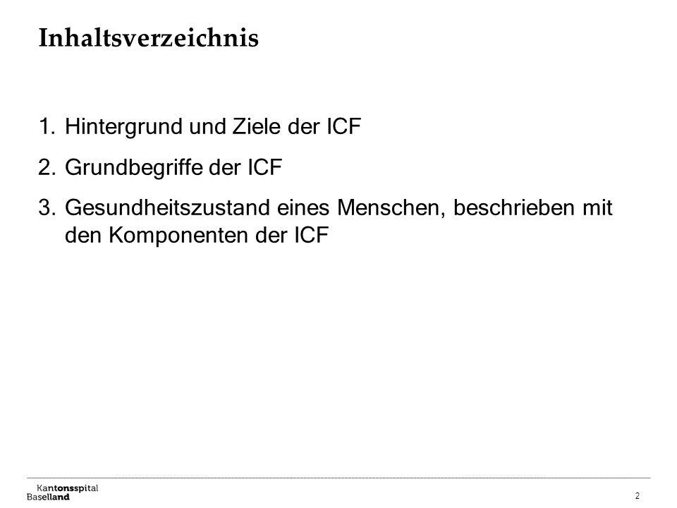 2 Inhaltsverzeichnis 1.Hintergrund und Ziele der ICF 2.Grundbegriffe der ICF 3.Gesundheitszustand eines Menschen, beschrieben mit den Komponenten der